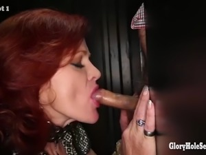 redhead dirty milf loves the taste of strangers cum in random gloryhole