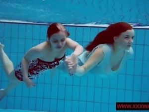 Big titted hairy and tattoed teens in the pool