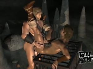 Animated lusty hunter fucks lewd bearded dude late at night