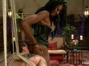 Dominant Ebony Strapon Fucking Two White Guys in Bondage Femdom Session