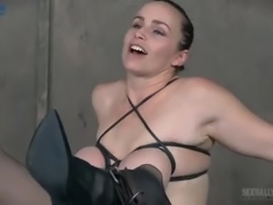 Brave busty slut Bella Rossi gets tied up and mouthfucked in BDSM way