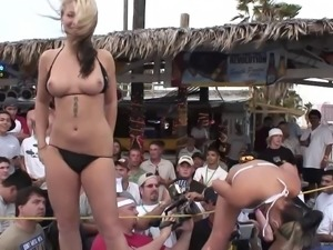 amateur lesbians in thong get wild showing tits in public