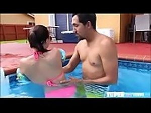 Shaved petite Carolina Sweet gets fucked hard at the pool side