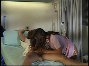 Brunette nurse Brittany Andrews giving dick blowjob
