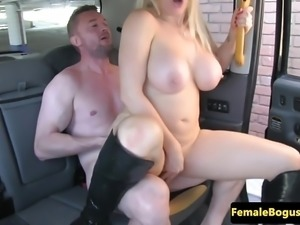 Busty british cabbie rides her customers cock