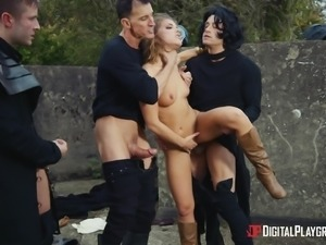 Adriana Chechik attacked by a bunch of insatiable lovers