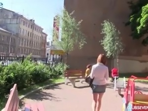 Cute slender girl gets picked up in the streets and fucked in the hotel