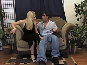 She cums on his cock he Squeezes it