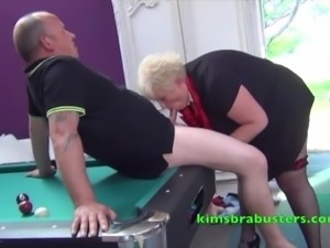 Kim screwed on the pool table