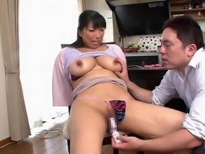 Nozomi opened up her thighs and let her man shove a vibrator into her vagina....