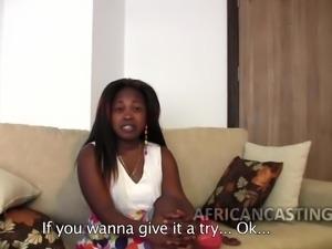 Big ass African slut at casting call riding some big cock