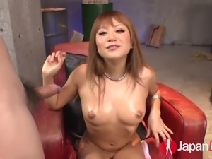 kokoa ayane plays with herself and then blows three tiny asian dicks