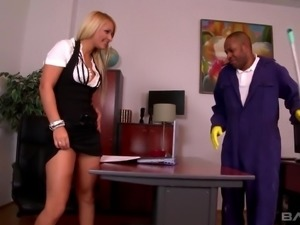 Addicted to big black dicks Lenna seduces one black cleaner