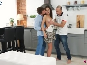 Shy buddy gets invited by a lewd couple for extremely hot MMF threesome