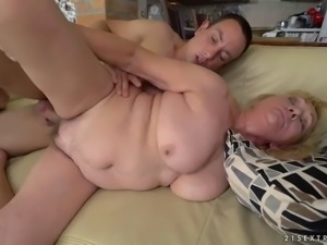 ugly and flabby bbw granny irene serves her hairy cunt for young cock