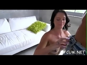 Sexy babe takes hard pecker in throat