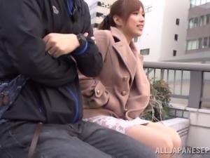 Two men are fucking this naughty Japanese office chick