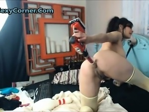 Brunette big boobs takes it also anal