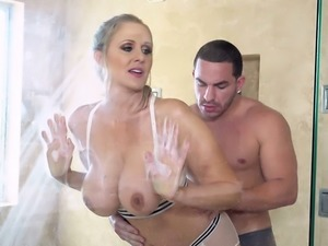 Julia Ann loves horny men and she is always up for some hot shower sex
