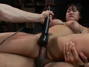 submissive asian sex bomb mia li gets her hairy twat fucked in wild bdsm...