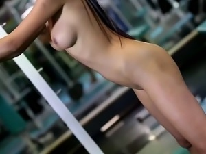 paula shy interrupts a workout to masturbate in an empty gym