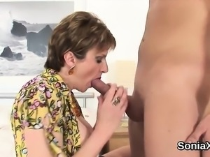 Cheating english milf lady sonia pops out her giant boobs62O