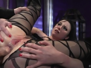Veruca James is a tied up brunette ready to be penetrated hard