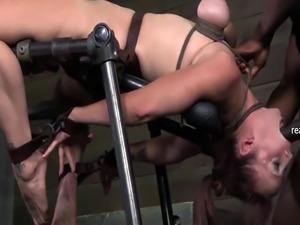Adorable MILFs in rough bondage sex scene
