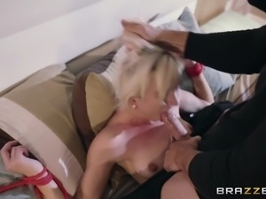 eliza jane tied to the bed, getting her throat fucked by the burglar
