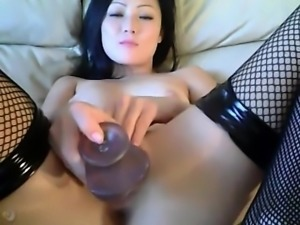Anal webcam show with an Asian babe