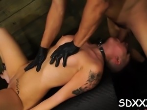Dirty slut loves being fucked by hard shlong in bdsm style