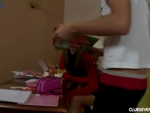 Cute pigtailed girl does not mind giving a blowjob to her private tutor