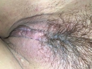 Hairy pussy of lusty housewife needs some tender tickling a bit