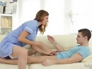 Professional nurse Ani Blackfox helps naughty soccer player to relax via sex