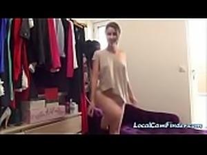 Hot blonde babe teasing ans seducing camera man