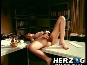 Long legged sexy vintage secretary loves to wank dick in 69