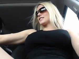 Chubby blonde in cotton panties uses big toys