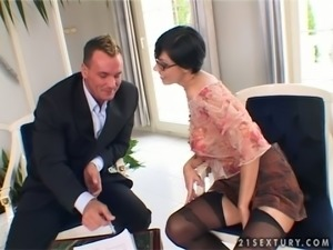 Eva Black the hot brunette in glasses gets butt fucked