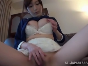 Close up face fucking action with big tits Japanese broad