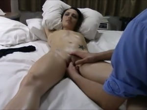 Slender oiled and flat chested nympho enjoyed erotic massage of her clit