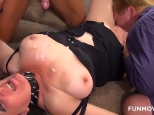 This slutty woman gets used by another man in front of her perverted hubby