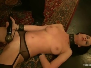 Two tied up girls lick pussies and get fucked doggystyle