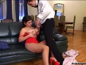 Drunk brunette with big tits enjoying a hardcore fuck on her sofa