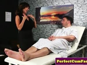 Classy brit mature sucking and jerking cock