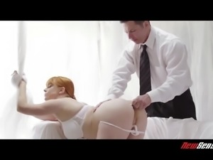 Totally concentrated red haired beauty Penny Pax takes double penetration