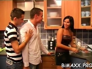 Cutie pie gets anal fucked by two ambisextrous guys