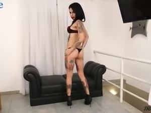 All tattooed big breasted ladyboy Gaby Ink is so captured with wanking herself