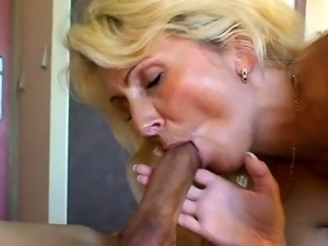 Sultry blonde milf in stockings has a passion for hard meat