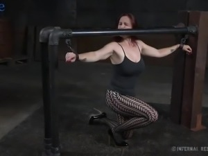 Submissive huge breasted redhead Bella Rossi gets tied up and treated like shit