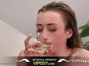 Vipissy - Blonde babe tries piss drinking in horny video